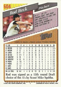 1993 Topps - Gold #604 Rod Beck Back