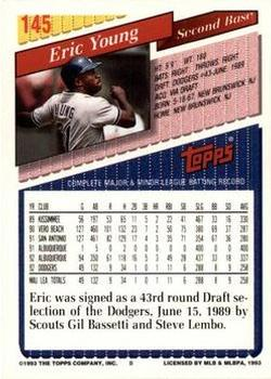 1993 Topps - Inaugural Rockies #145 Eric Young Back