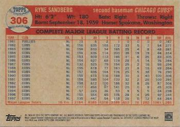 2015 Topps Archives #306 Ryne Sandberg Back