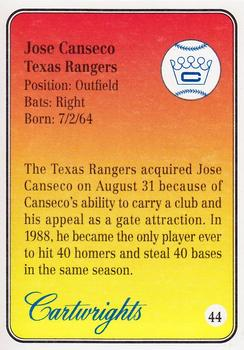 1992 Cartwright's Players' Choice Gold #44 Jose Canseco Back