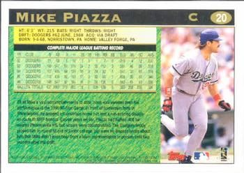 1997 Topps #20 Mike Piazza Back