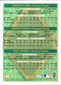 1997 Topps #493 Darrin Blood / Heath Murray / Carl Pavano Back