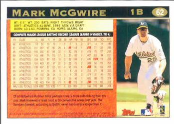 1997 Topps #62 Mark McGwire Back