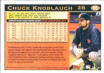 1997 Topps #65 Chuck Knoblauch Back