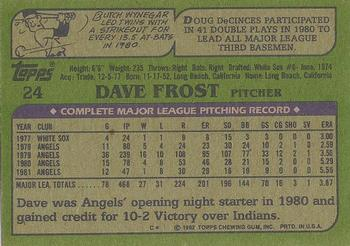 1982 Topps - Blackless #24 Dave Frost Back