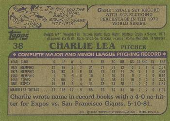 1982 Topps - Blackless #38 Charlie Lea Back