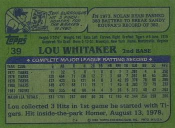 1982 Topps - Blackless #39 Lou Whitaker Back