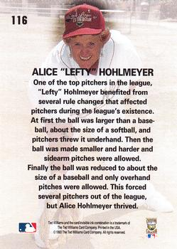 1993 Ted Williams #116 Lefty Hohlmayer Back