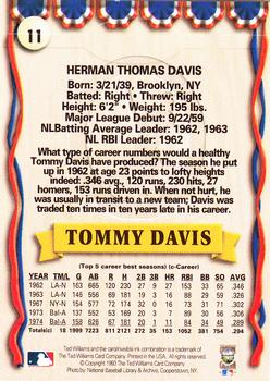 1993 Ted Williams #11 Tommy Davis Back