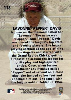 1993 Ted Williams #118 Pepper Davis Back