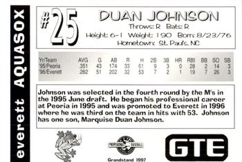 1997 Grandstand Everett AquaSox #NNO Duan Johnson Back