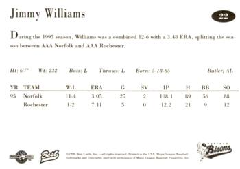 1996 Best Buffalo Bisons #22 Jimmy Williams Back