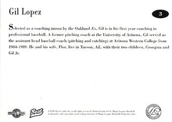 1996 Best West Michigan Whitecaps #3 Gil Lopez Back