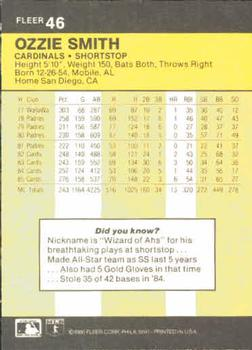 1986 Fleer #46 Ozzie Smith Back