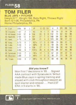 1986 Fleer #58 Tom Filer Back