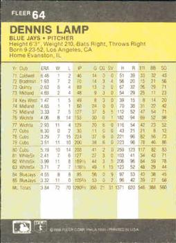 1986 Fleer #64 Dennis Lamp Back