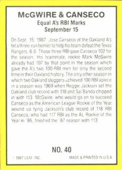 1987 Donruss Highlights #40 Mark McGwire / Jose Canseco Back