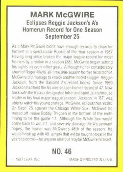 1987 Donruss Highlights #46 Mark McGwire Back