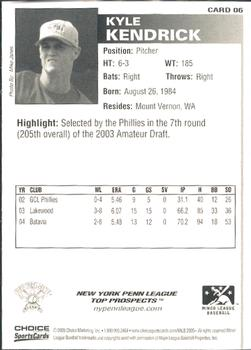 2005 Choice New York-Penn League Top Prospects #06 Kyle Kendrick Back