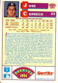 1986 Sportflics Rookies #11 Jose Canseco Back