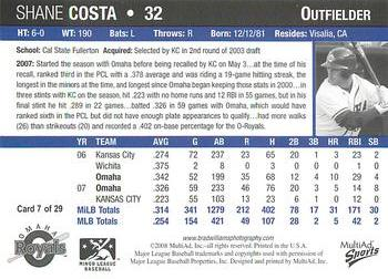2008 Multi-Ad Omaha Royals #7 Shane Costa Back