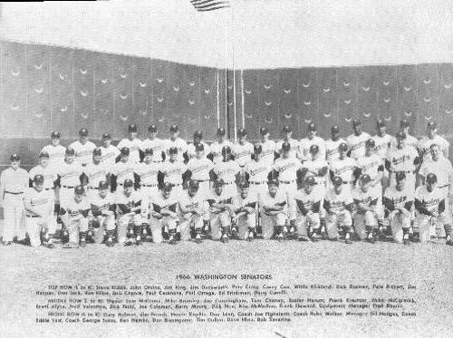 1966 Washington Senators Team Photo NNO Front