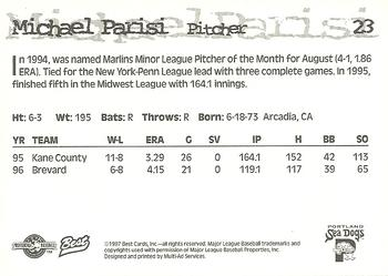 1997 Best Portland Sea Dogs #23 Michael Parisi Back