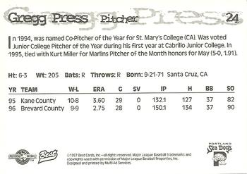 1997 Best Portland Sea Dogs #24 Gregg Press Back