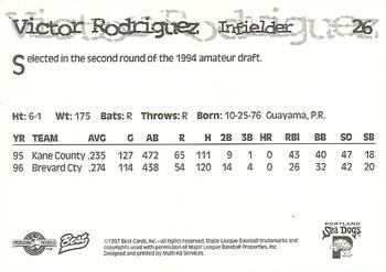 1997 Best Portland Sea Dogs #26 Victor Rodriguez Back
