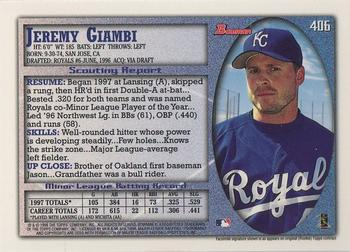 1998 Bowman - International #406 Jeremy Giambi Back