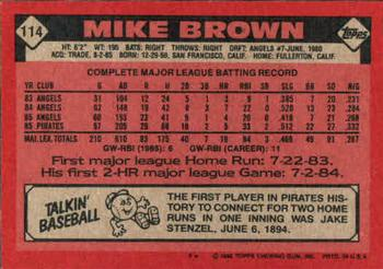 1986 Topps #114 Mike C. Brown Back