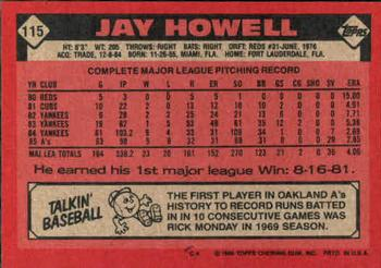 1986 Topps #115 Jay Howell Back