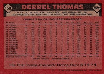 1986 Topps #158 Derrel Thomas Back