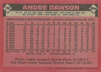 1986 Topps #760 Andre Dawson Back