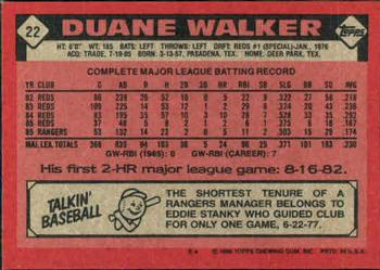 1986 Topps #22 Duane Walker Back