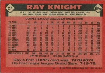 1986 Topps #27 Ray Knight Back