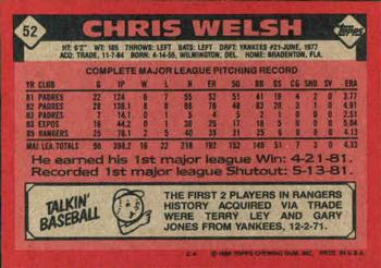 1986 Topps #52 Chris Welsh Back