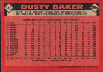 1986 Topps #645 Dusty Baker Back