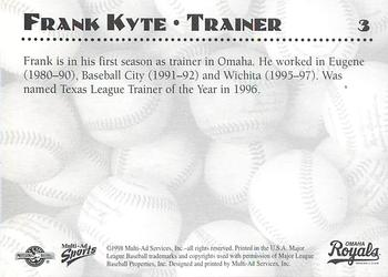 1998 Multi-Ad Omaha Royals #3 Frank Kyte Back