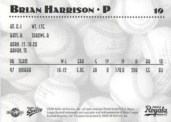 1998 Multi-Ad Omaha Royals #10 Brian Harrison Back