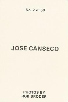 1986 Rob Broder (unlicensed) #2 Jose Canseco Back