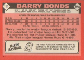1986 Topps Traded #11T Barry Bonds Back