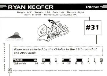 2001 Grandstand Bluefield Orioles #NNO Ryan Keefer Back