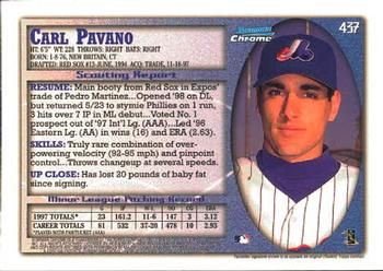 1998 Bowman Chrome #437 Carl Pavano Back