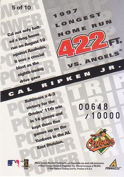 1998 Pinnacle Performers - Power Trip #5 Cal Ripken Jr. Back