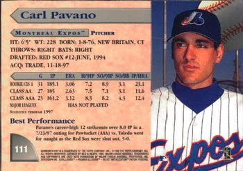 1998 Bowman's Best #111 Carl Pavano Back
