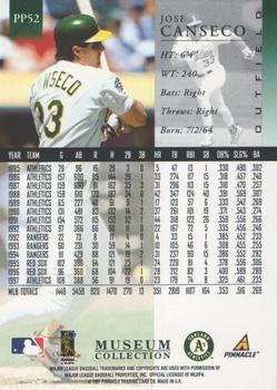 1998 Pinnacle - Museum Collection #PP52 Jose Canseco Back