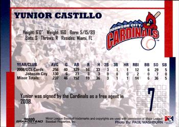 2009 Grandstand Johnson City Cardinals #NNO4 Yunior Castillo Back