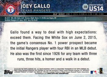 2015 Topps Update #US14 Joey Gallo Back