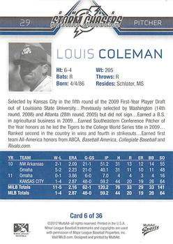 2012 MultiAd Omaha Storm Chasers #6 Louis Coleman Back